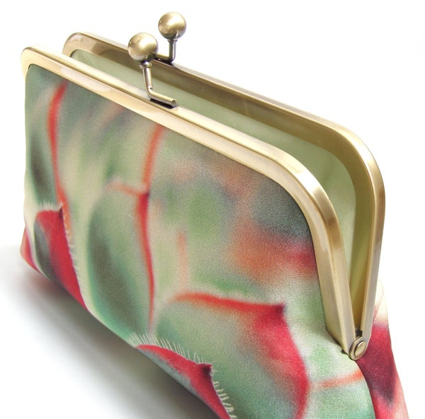 Clutch bag, succulent silk purse, red and green cacti bag - Red Ruby Rose