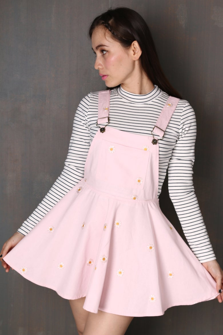 Image of Pale Pink Daisy Pinafore
