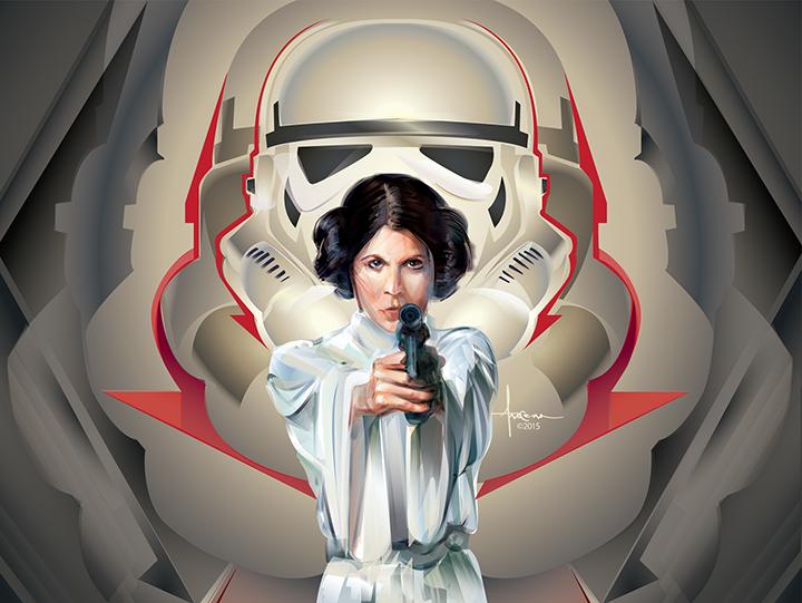 Image of STAR WARS - ADVERSARIES_Princess Leia- 24x18 edtn50 2016