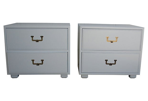 Image of Lacquered Campaign Nightstands by Henredon, Pair
