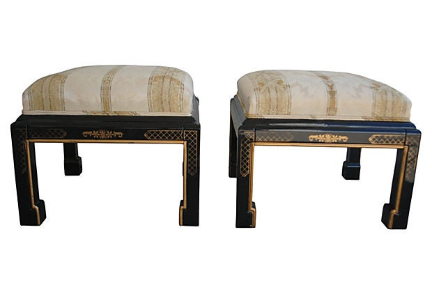 Image of Ming Upholstered Stools, Pair