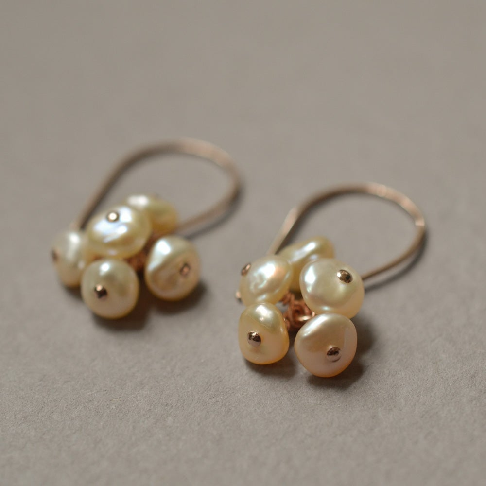Image of Blush freshwater cultured keshi pearl cluster earrings
