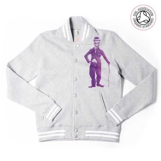 Image of Chaplin Grey Striped Varsity Jacket (Organic)
