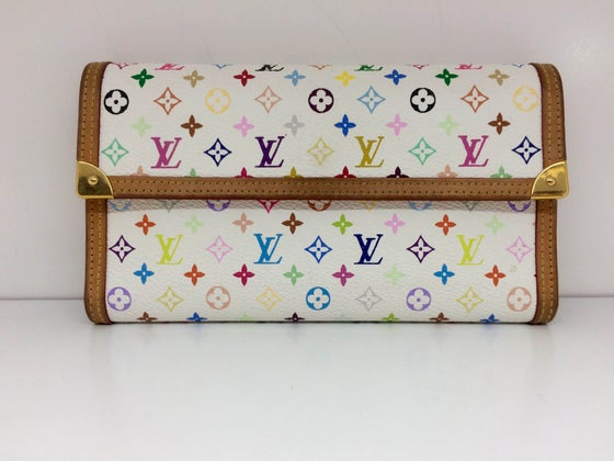 Image of Louis Vuitton White Monogram Multicolor Porte-Tresor International Wallet