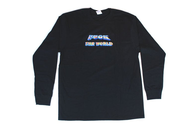 Image of Supreme Fuck the World Long Sleeve Shirt L Black