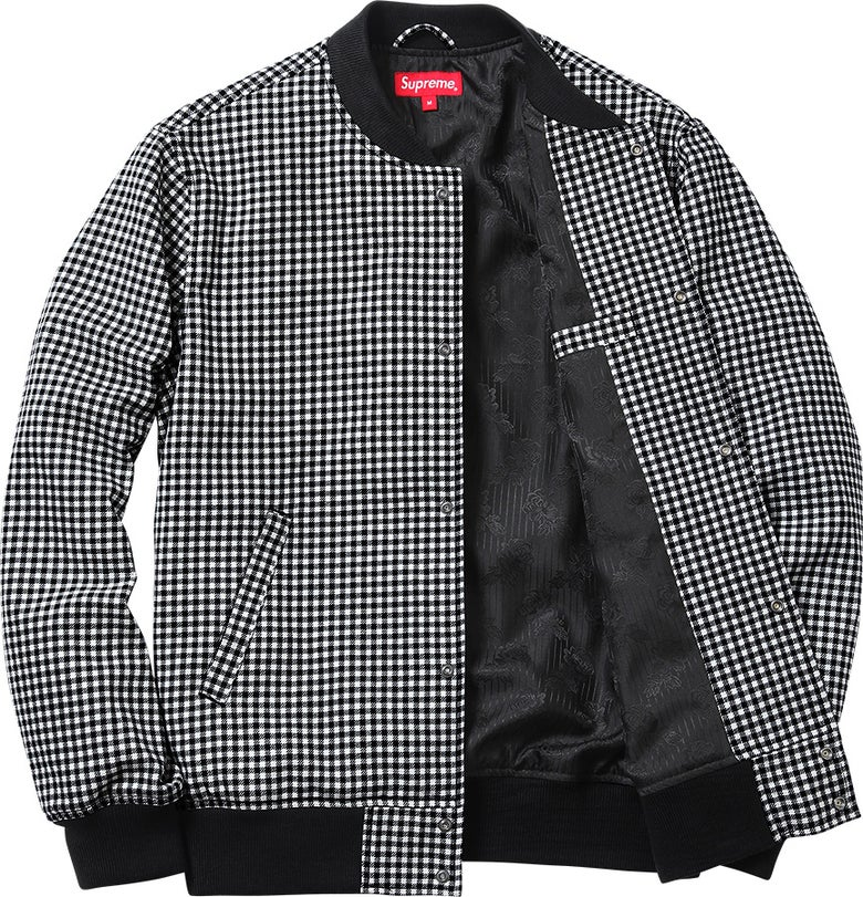 Image of Supreme Plaid Houndstooth Bomber Jacket L