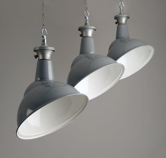 Image of Grey Parabolic Factory Light by Benjamin