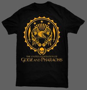 Image of The United Federation of Godz and Pharaohs T-Shirt - Black Tee