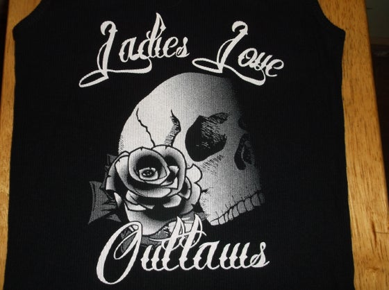 Image of Ladies Skull with Rose Tank Tops
