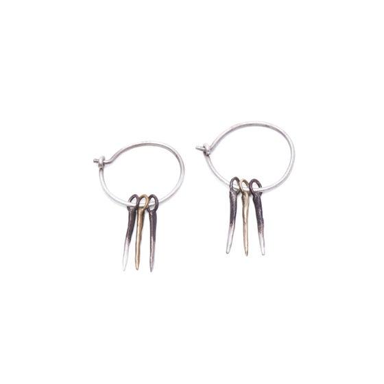 Image of 3 silver & brass snake-spike hoops (E28SILBRAB)