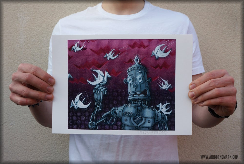 "Image of ""Be A Robot"" A4 Glicee Print"
