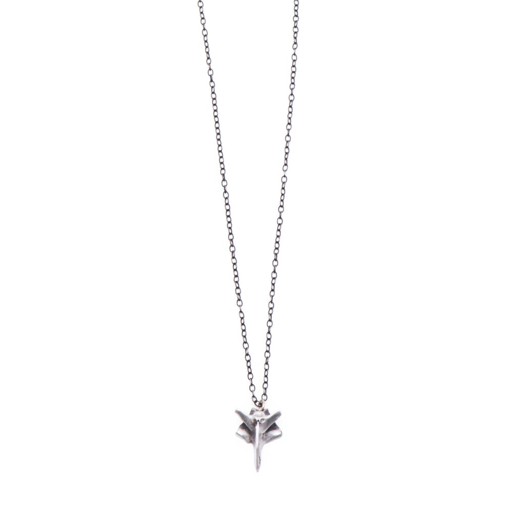 "Image of butterfly bird-bone on adjustable 18-24"" silver cable-chain (P1101824)"