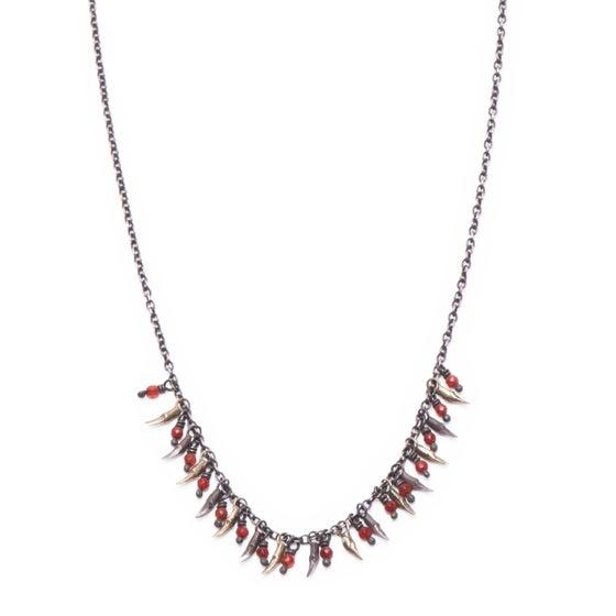 Image of 15 branch & bead drop necklace (P105SILBRA1826)