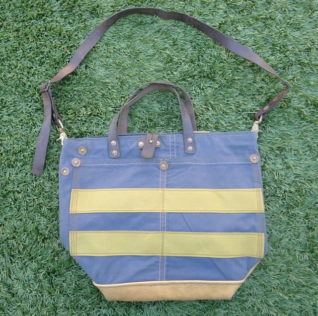 Image of STENCILED BLUE CANVAS AND LEATHER BUCKET TOTE