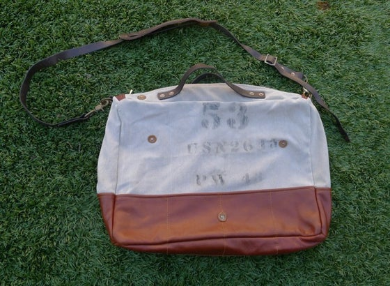 Image of STENCILED MILITARY CANVAS AND LEATHER SHOULDER BAG #2