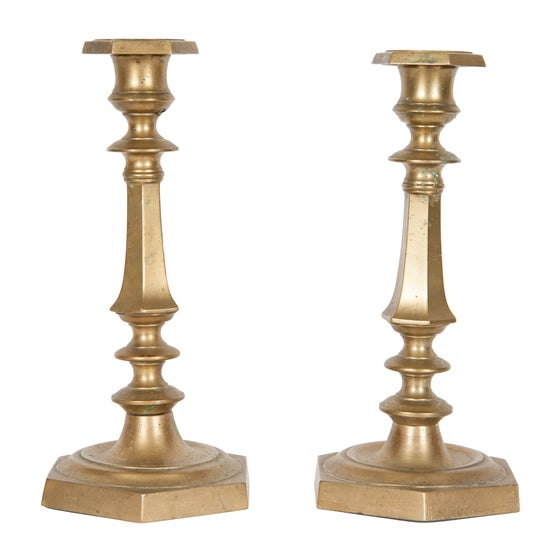 Image of Pair of French Brass Candlesticks 19th century