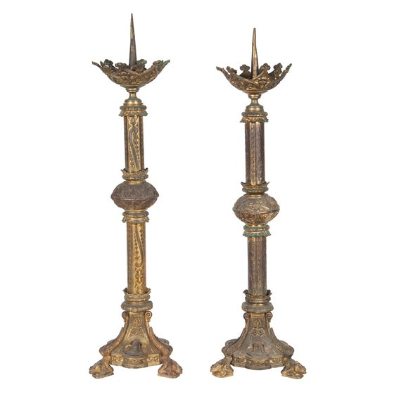 Image of Pair of Ecclesiastical Brass Candlestick Lamps