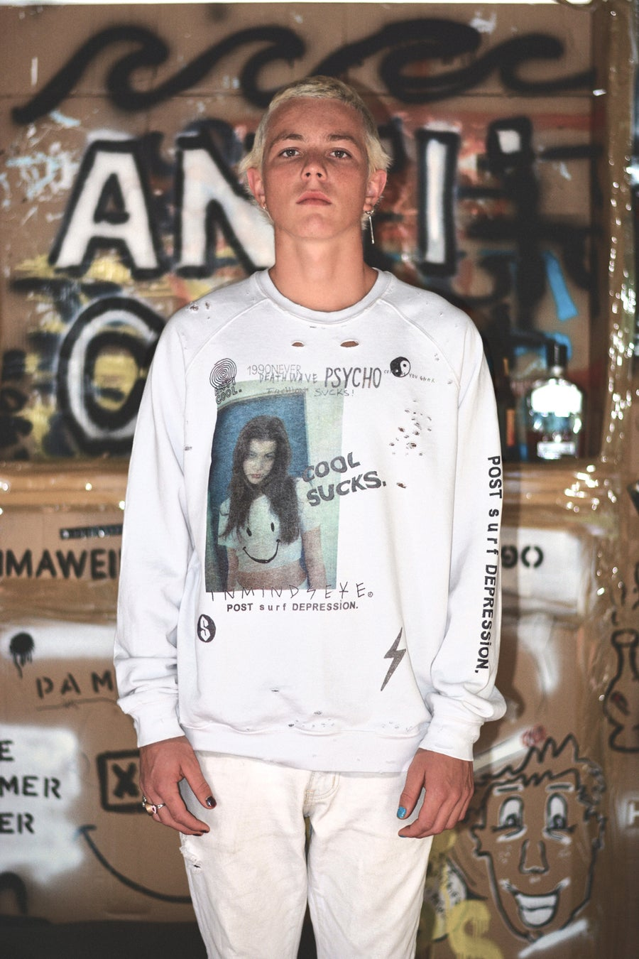 "Image of cool sucks crew / bleached white ""unisex"""