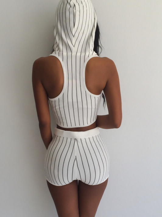 Image of Hot two piece stripes hooded track suit