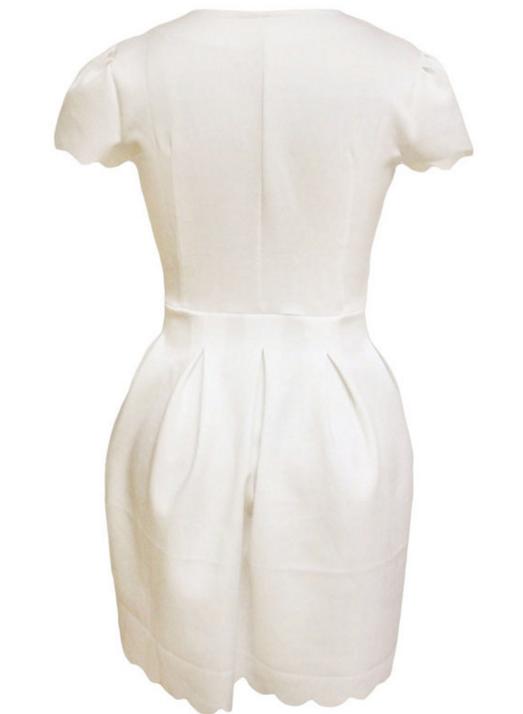 Image of V-neck short sleeve pleated dress