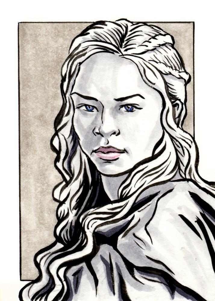 Image of Daenerys Targaryen Original Art Card (Framed)
