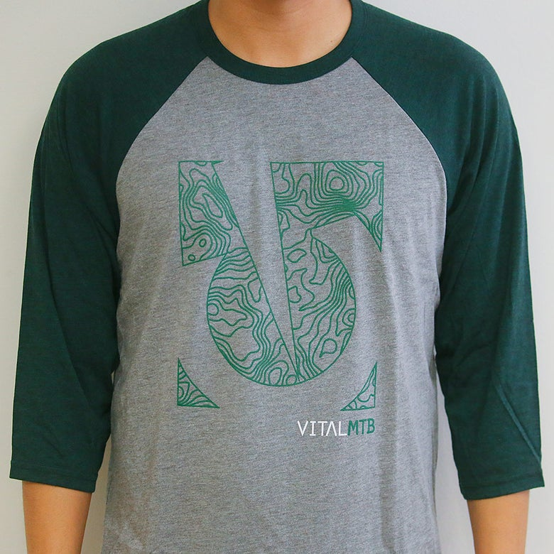 Image of Topo 3/4 Sleeve T-Shirt, Grey/Emerald