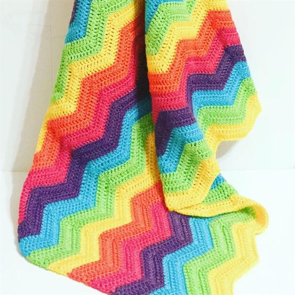 Image of Crochet Rainbow Baby Blanket