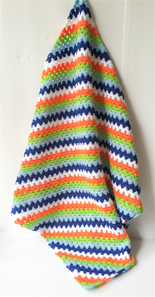 Image of Crochet Bright Baby Boys Blanket In Autumn Colours