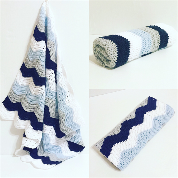 Image of Baby Blue Grey and White Chevron Blanket
