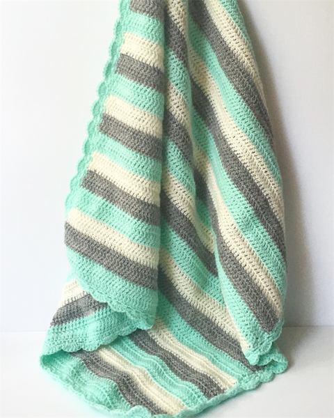 Image of Mint Grey and White Crochet baby Blanket