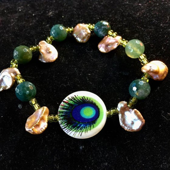 Image of Peacock Goddess ~ Agate and Champagne Pearls