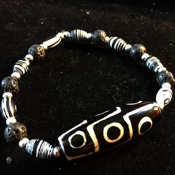 Image of Tribal Warrior ~ Tribal Agate, Zebra Jasper and Basalt (Volcanic Rock)