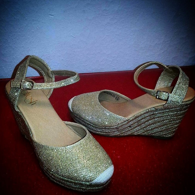 Image of Gold Sparkly Espadrille wedge