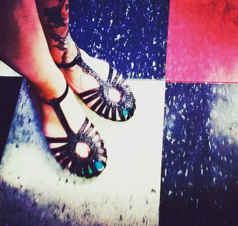 Image of Sparkly Black Sandal vintage inspired