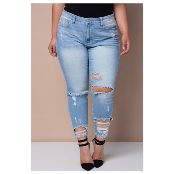 Image of Plus size Distressed Skinny Jeans