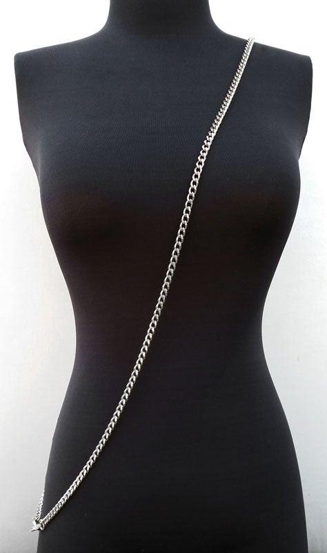 "Image of NICKEL Chain Purse Strap - Mini Classy Curb Diamond Cut Chain - 1/4"" Wide - Choose Length & Clasps"