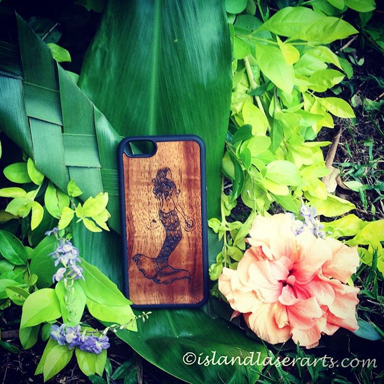 Image of Mermaid koa wood phone case