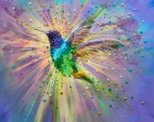 Image of Hummingbird Magic Energy Painting - Giclee Print