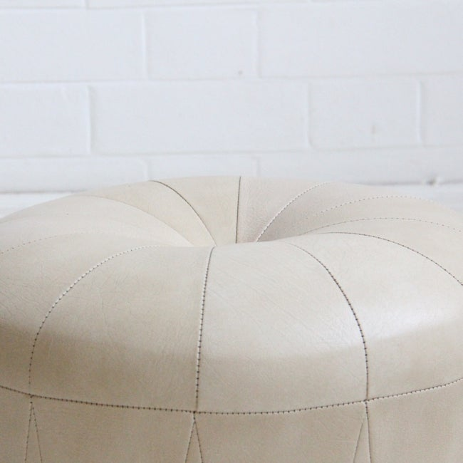 Image of Cream leather poof