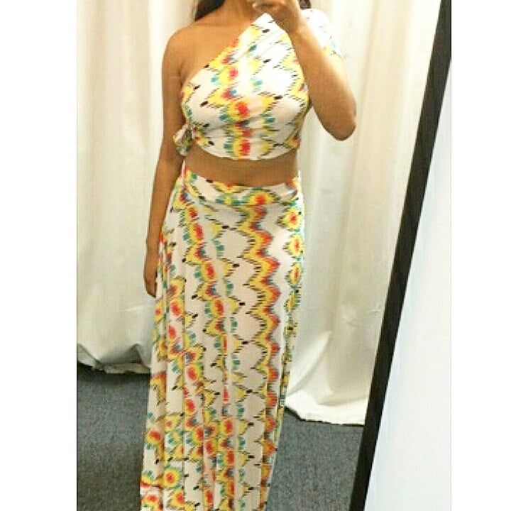 Image of Multi Color Wrap Top and Maxi Skirt