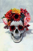 Image of Skull with Flowers Special Edition Hand-accented Print