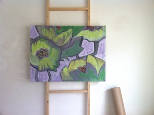 Image of Poppy Painting, Flower Art, Abstract Lime Green Floral Painting, Modern Art by Will Wieber