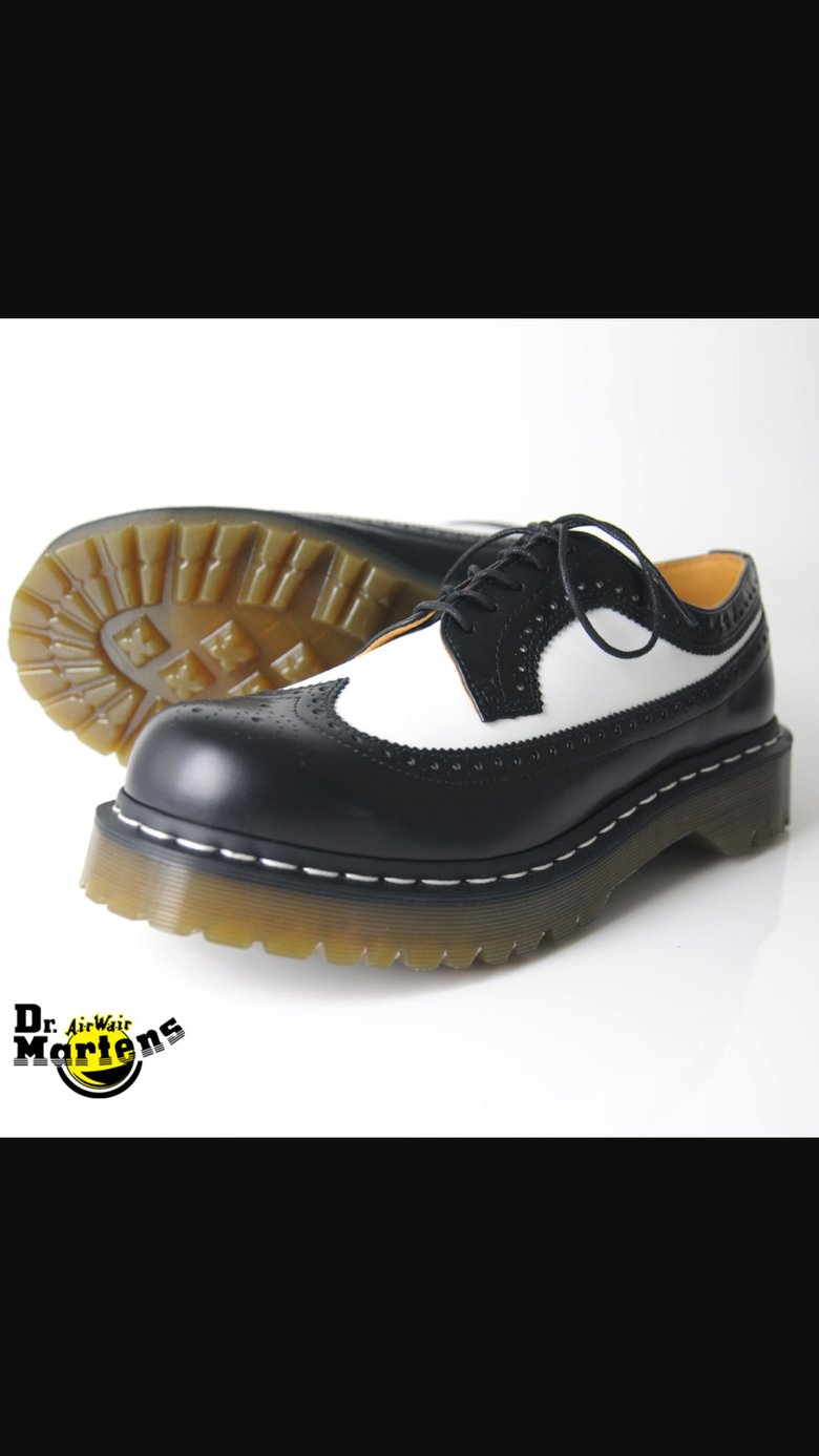 Image of Dr. Martens Black and White wingtip
