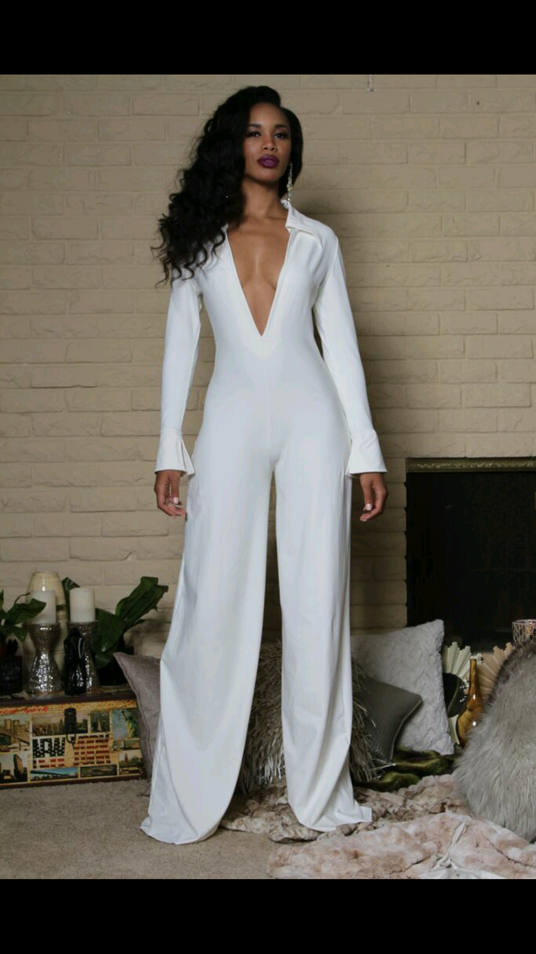 Image of Trina - White Collared Jumpsuit