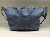 Image of Coach Bleecker Cooper Satchel In Perforated Blue Leather