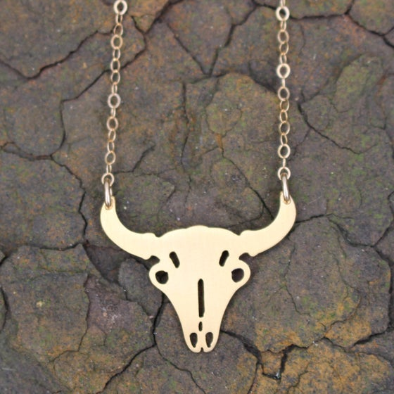 Image of 24k gold plated cattle Skull necklace