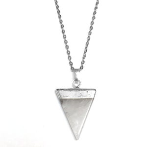 Image of Quartz Crystal Triangle Point Gemstone Necklace