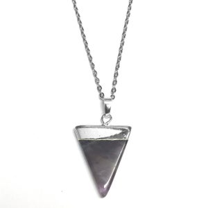 Image of Amethyst Crystal Triangle Point Gemstone Necklace