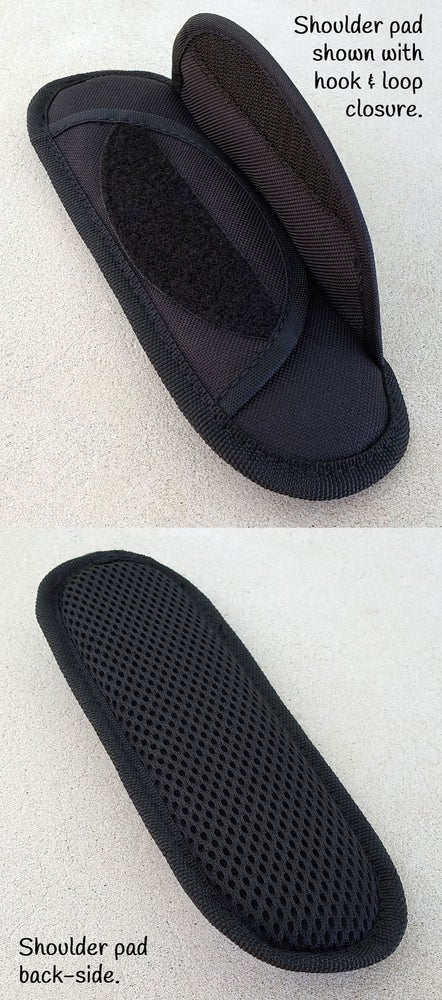 Image of Padded Shoulder Pad - Black - Hook & Loop Closure - For 1-2 inch Wide Straps