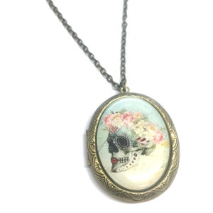 Image of  Painted Sugar Skull With Flower Crown Locket Necklace